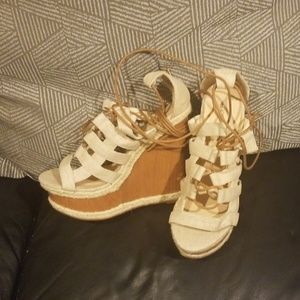 Lace up tan wedge